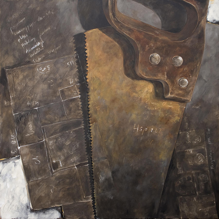 The Rusty Saw And The Buildingplans Painting by Anke Classen