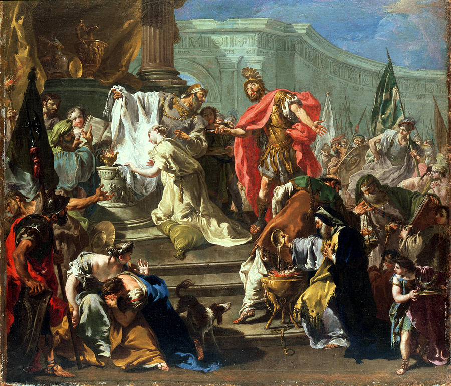 Jephthah Painting - The Sacrifice Of Jephthahs Daughter by Giovanni Battista Pittoni