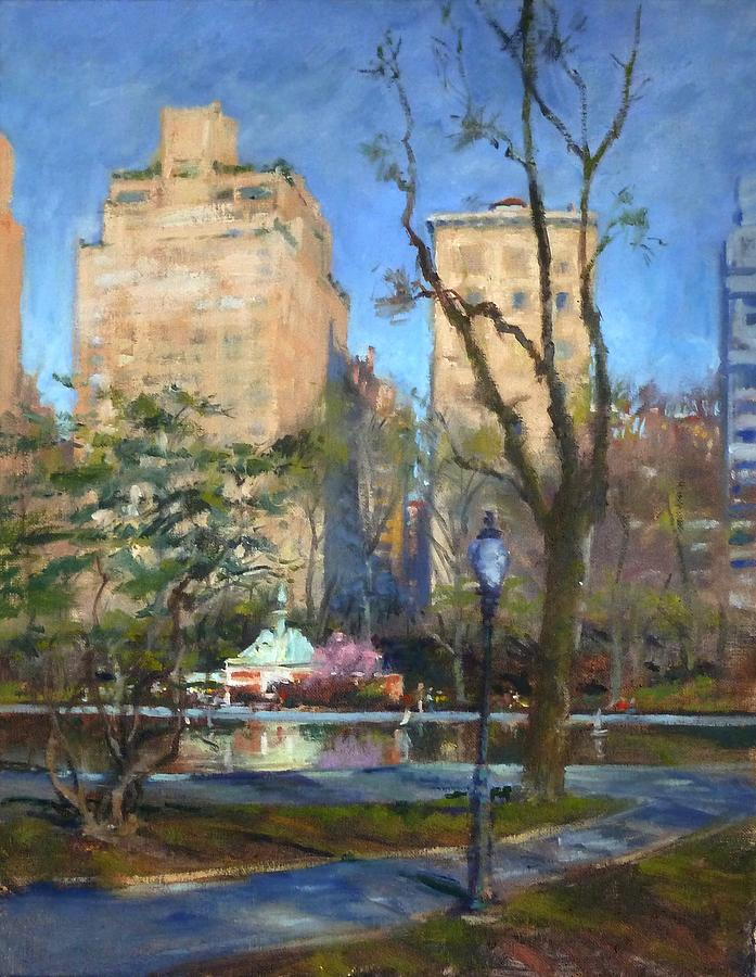 Toy Sailboat Painting - The Sailboat Pond In Central Park by Peter Salwen