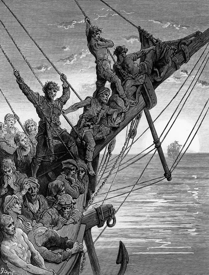 Gustave Drawing - The Sailors See In The Distance A Ghostly Ship by Gustave Dore