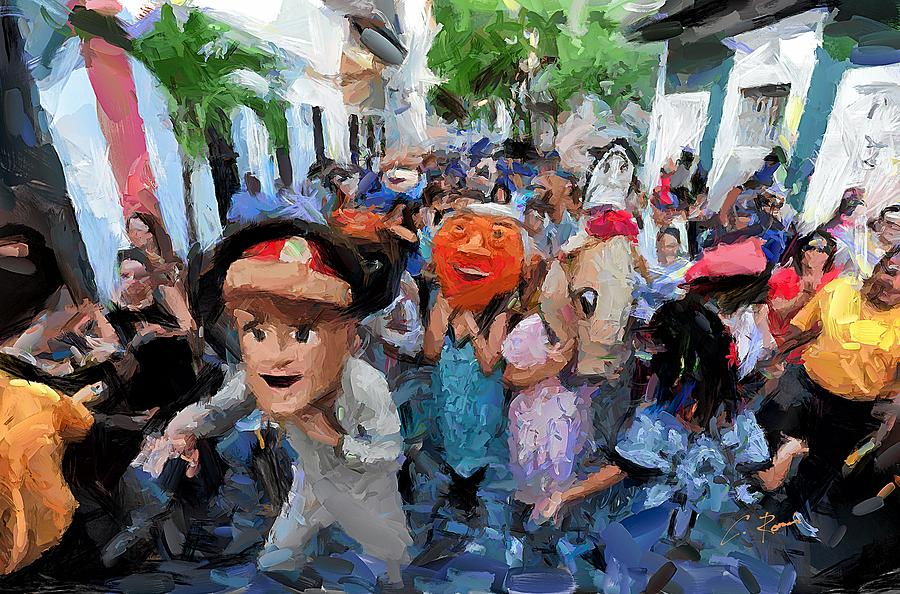 Fiesta Digital Art - The San Sebastian Street Festival by Charlie Roman