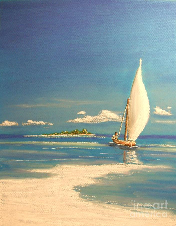 Tropical Painting - The Sand Bar by The Beach  Dreamer