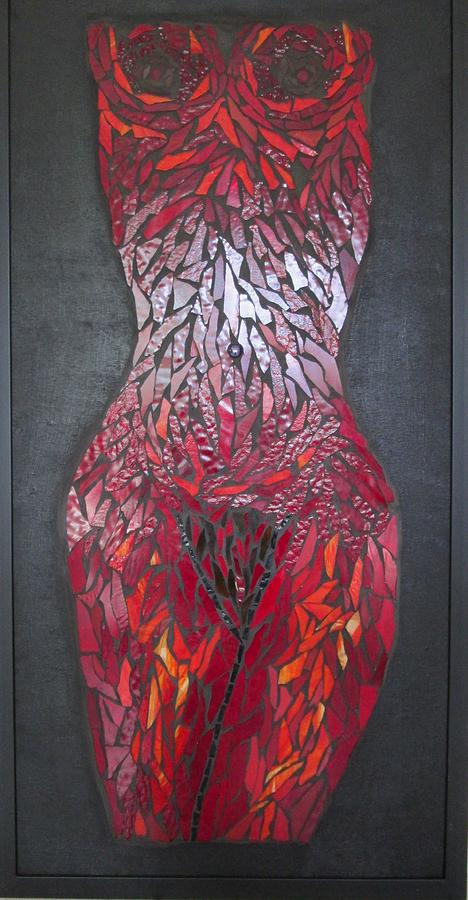 Nude Glass Art - The Scarlet Woman by Alison Edwards