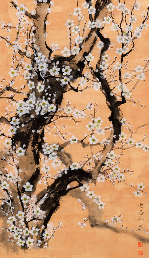 The scent of white plum blossoms Painting by Yoshie Hayashi