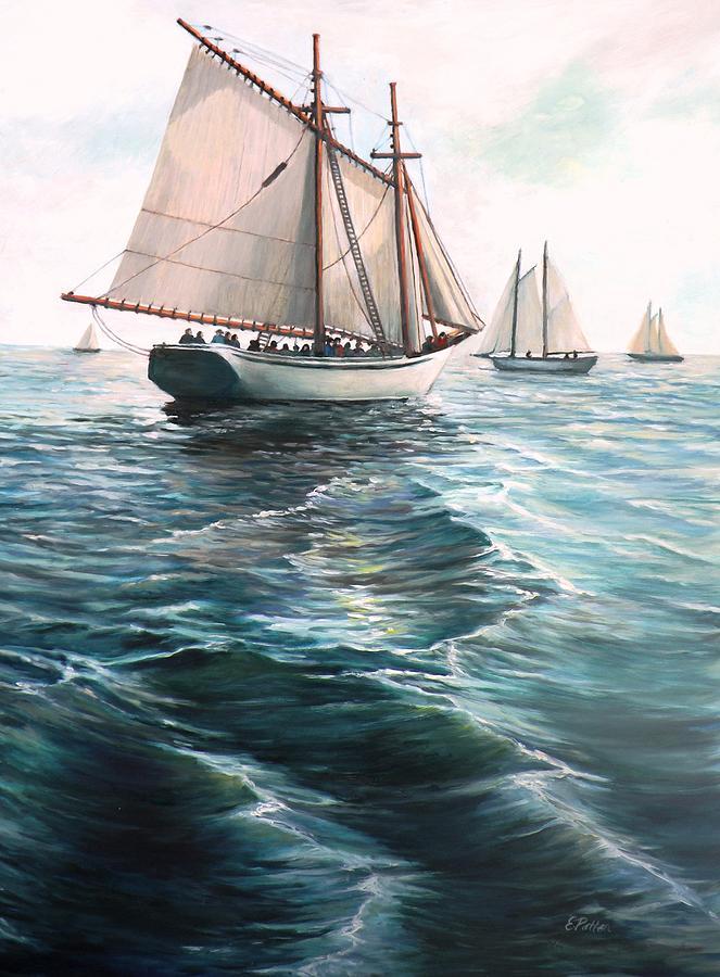 Ocean Painting - The Schooners by Eileen Patten Oliver