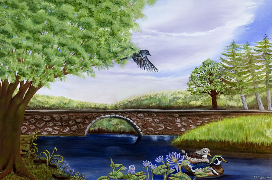 Bridge Over River Landscape Painting - The Schuykill River by Susan Culver