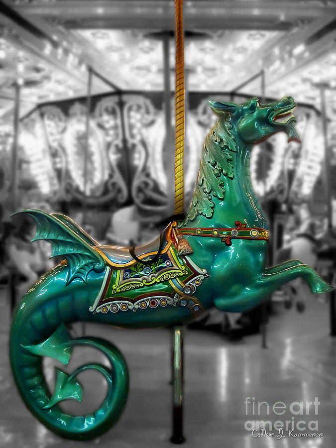 Carousels Photograph - The Sea Dragon - Carousel by Colleen Kammerer