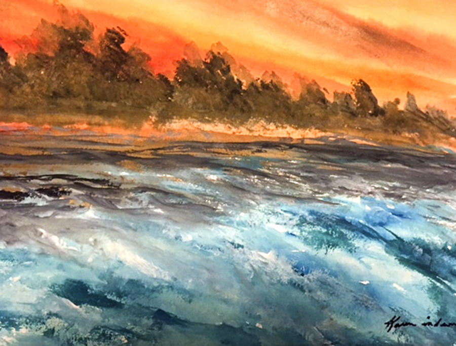 Water Colors Painting - The Sea Of Blue by Karen  Condron
