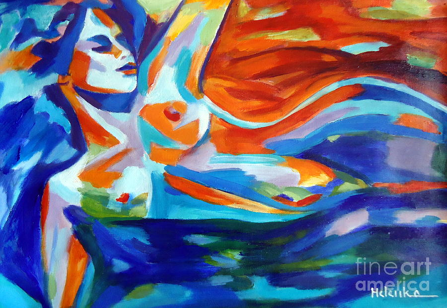 Abstract Nudes Painting - The Sea Of Life by Helena Wierzbicki