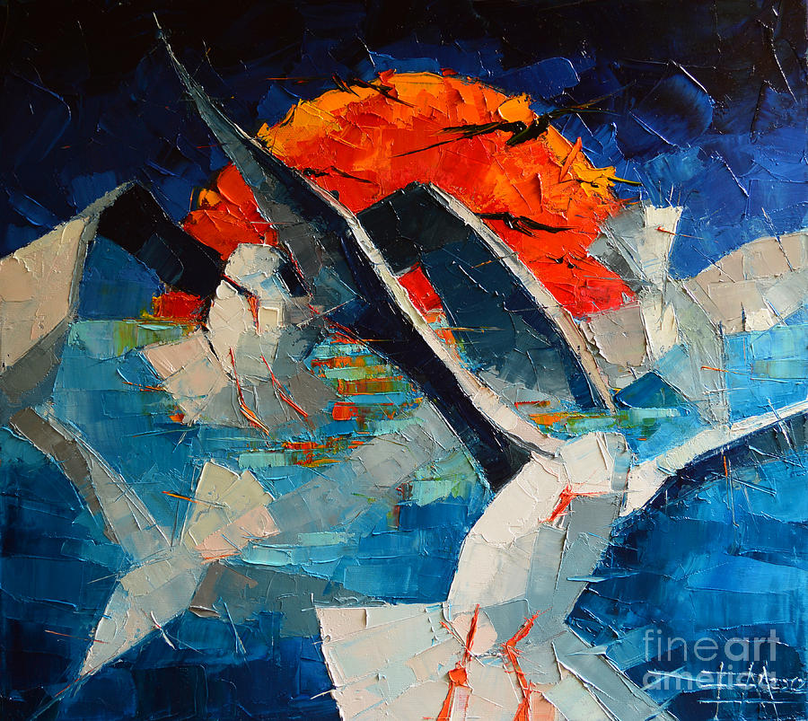 The Seagulls Painting - The Seagulls 2 by Mona Edulesco