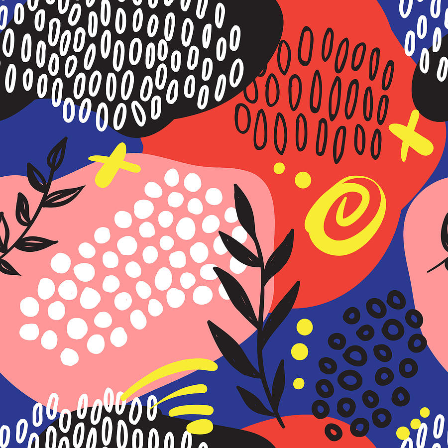 The Seamless Colorful Pattern With Digital Art by Ekaterina Bedoeva