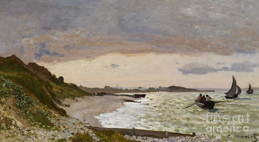 Boat Painting - The Seashore At Sainte Adresse by Claude Monet