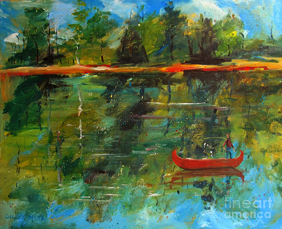 Canoe Painting - The Secret by Charlie Spear