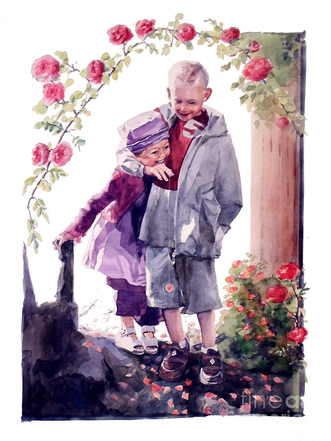 Watercolor of a Boy and Girl in their Secret Garden by Greta Corens