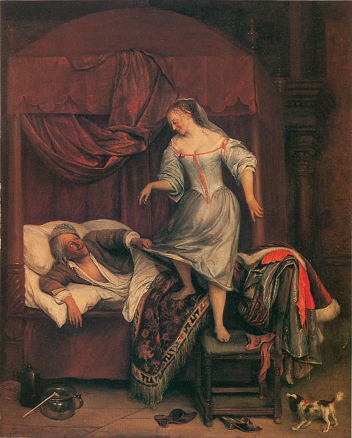 Jan Steen Painting - The Seduction by Jan Steen