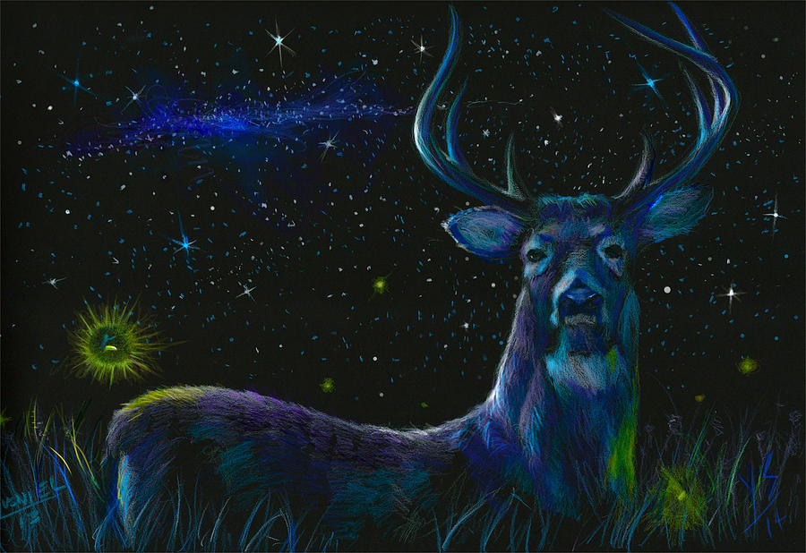 Deer Mixed Media - The Serenity Of The Night  by Yusniel Santos