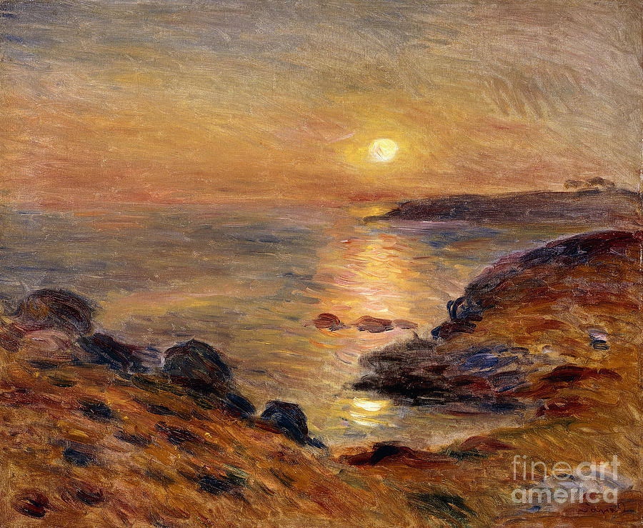 Bretagne Painting - The Setting Of The Sun At Douarnenez61 by Pierre Auguste Renoir