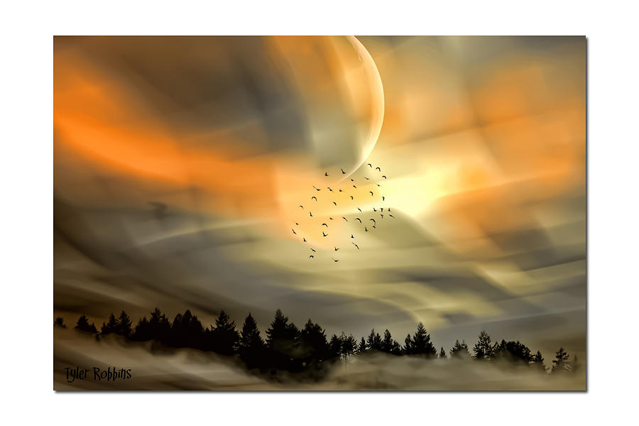 Landscape Mixed Media - The Setting Sun Over The Rising Mist by Tyler Robbins