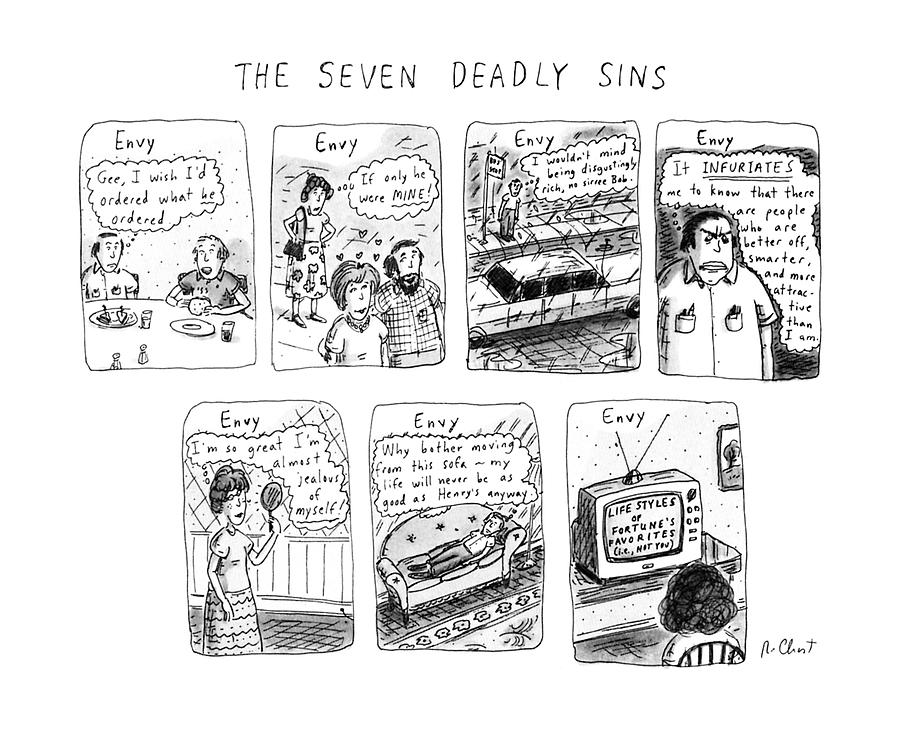 The Seven Deadly Sins Drawing by Roz Chast