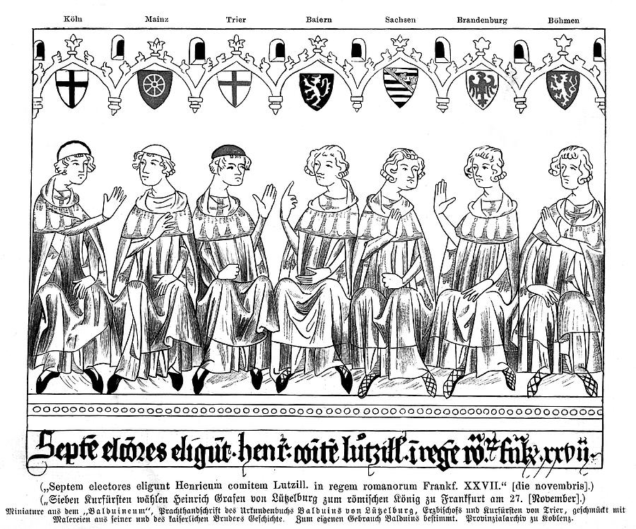 Heinrich Drawing - The Seven Electors - Of Koln,  Mainz by Mary Evans Picture Library