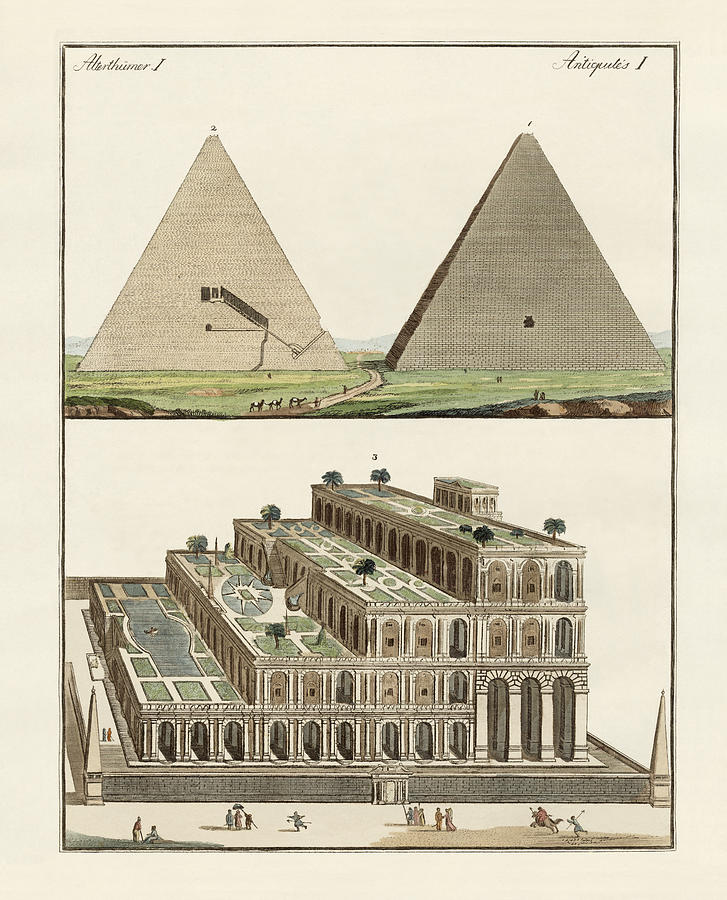 The Great Pyramid Of Giza Drawing - The Seven Wonders Of The World by Splendid Art Prints