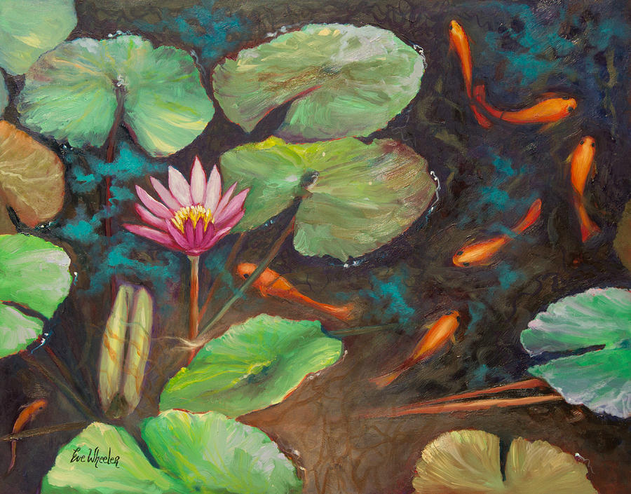 Goldfish Painting - The Shallow End by Eve  Wheeler