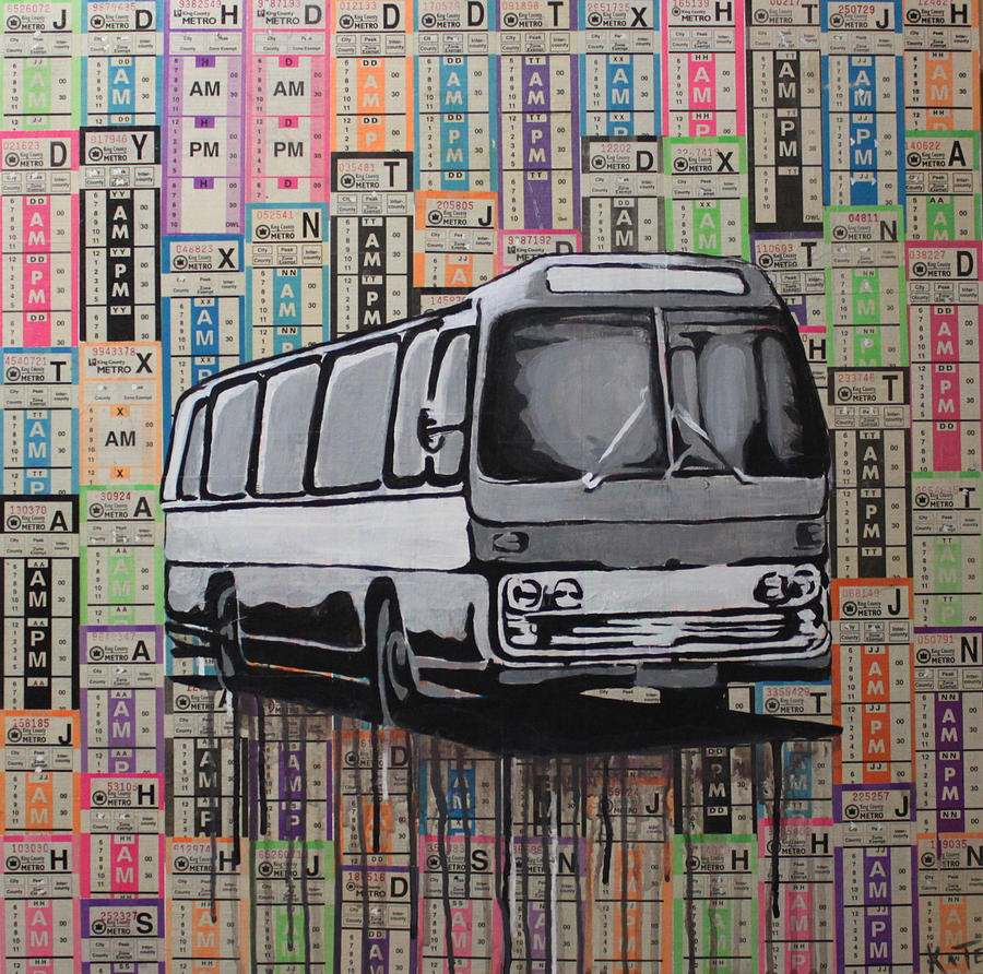 Metro Bus Painting - The Shame Train by Kate Tesch