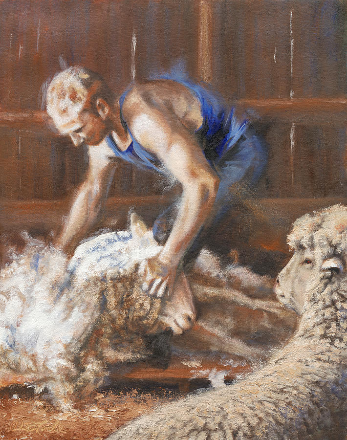 Sheep Painting - The Shearing by Mia DeLode