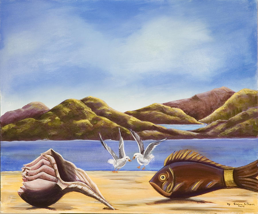 Dove Landscape Canvas Prints Painting - The Shell The Fish The Sea by Susan Culver