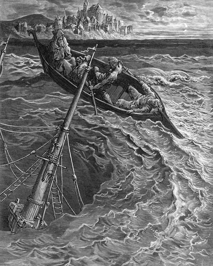 Gustave Drawing - The ship sinks but the Mariner is rescued by the Pilot and Hermit by Gustave Dore