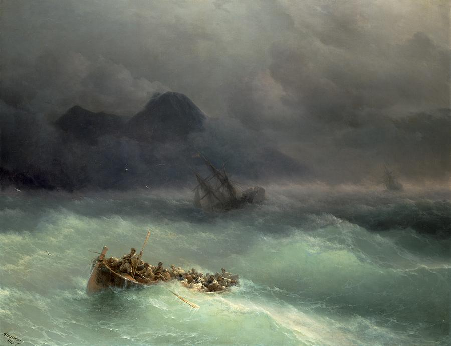 Storm Painting - The Shipwreck by Ivan Konstantinovich Aivazovsky