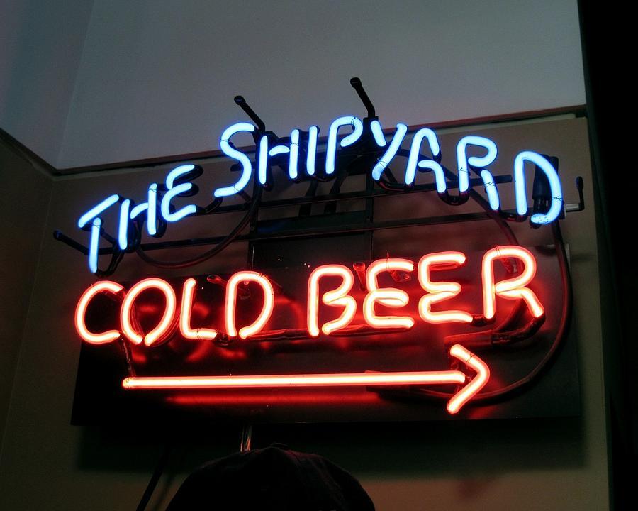 Nautical Photograph - The Shipyard Cold Beer Neon Sign by Patricia E Sundik
