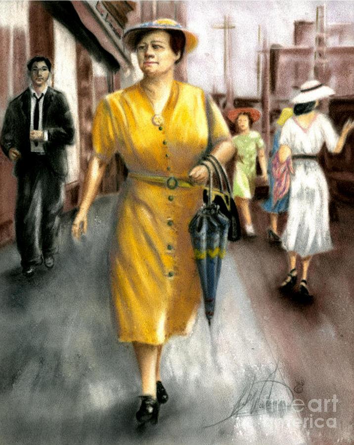 Woman Pastel - The Shopper by Leah Wiedemer