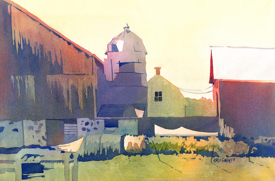 Watercolor Painting - The Side Of A Barn by Kris Parins