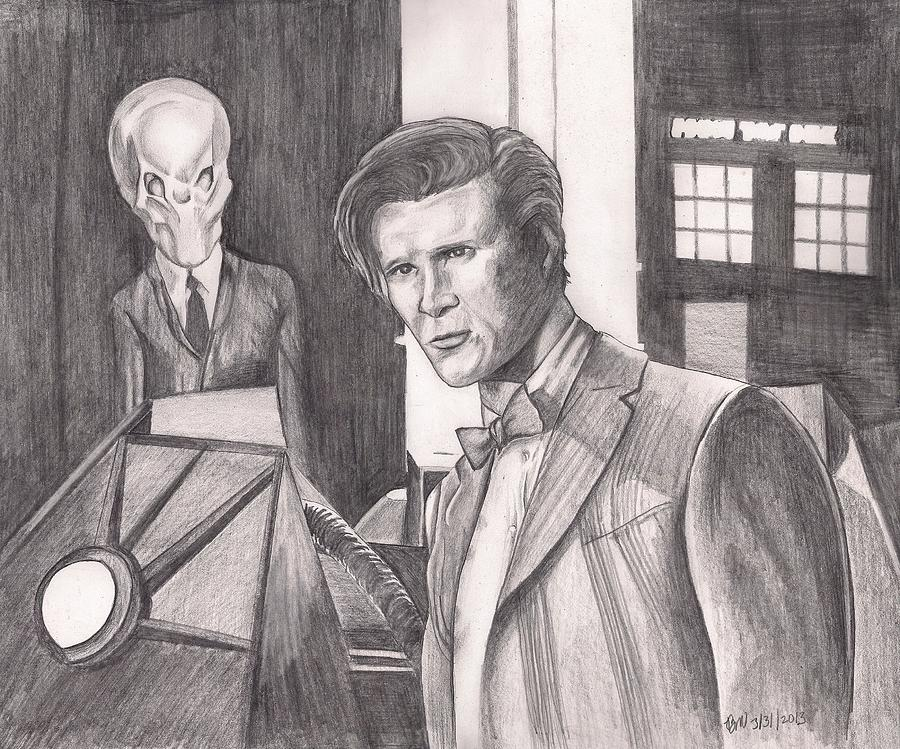 Doctor Who Drawing - The Silence by Beverly Marshall
