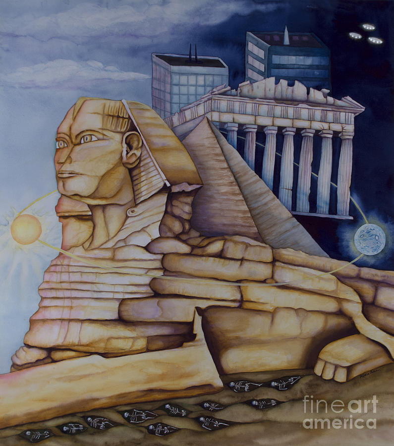 Sphinx Painting - The Silent Witness Of Civilizations Past And Those Yet To Be Born by Rebecca Barham