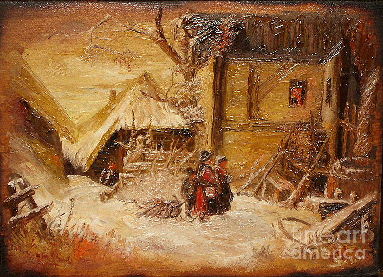 Winter Landscape Painting - The Singers by Sorin Apostolescu