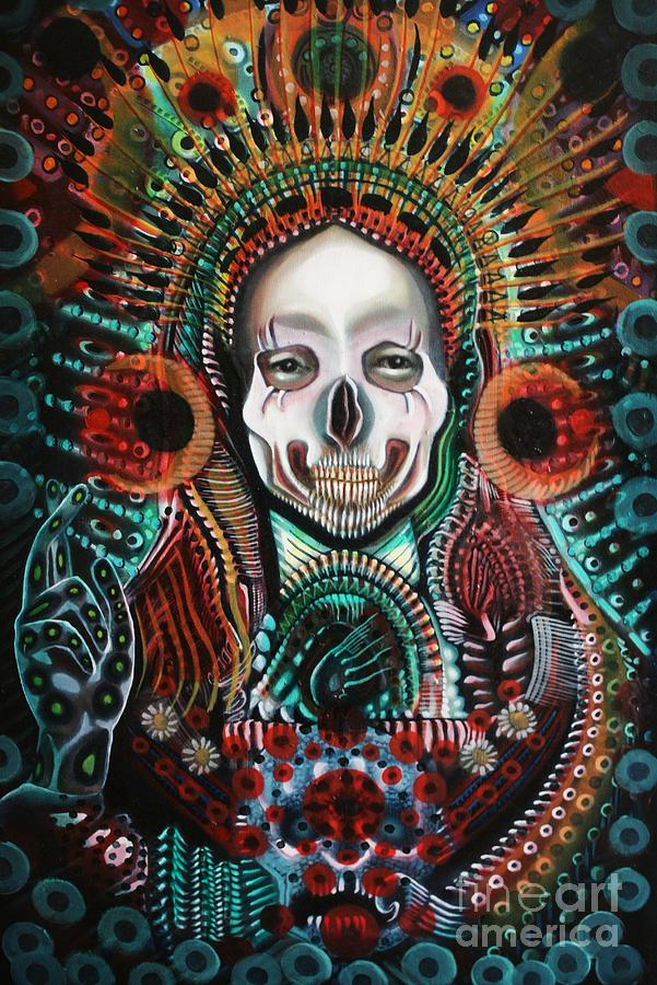 Skull Painting - The Singularity by Michael Kulick