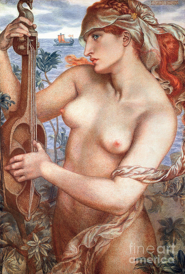 Female Painting - The Siren by Dante Charles Gabriel Rossetti