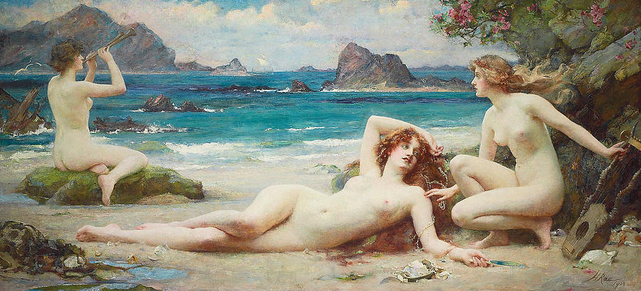 Nude Painting - The Sirens by Henrietta Rae