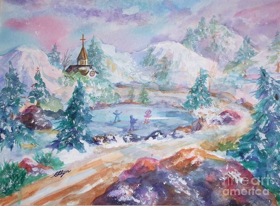Ice Skaters Painting - The Skaters by Ellen Levinson