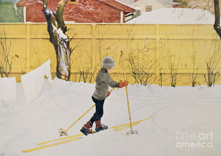 Snow Painting - The Skier by Carl Larsson