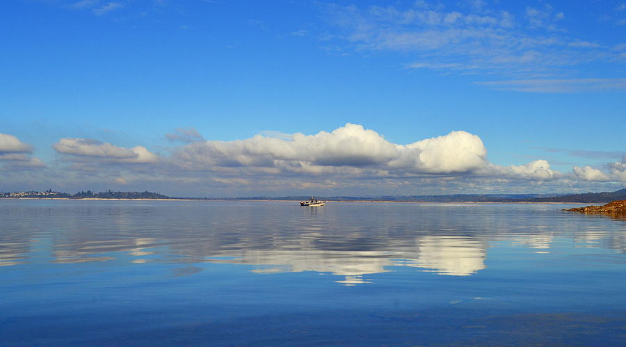 Sky Photograph - The Sky The Lake And The Boat by Rima Biswas