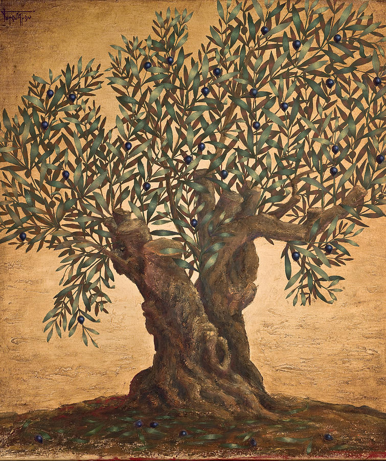 Landscape Painting - The Small Olive Tree by Sobobak