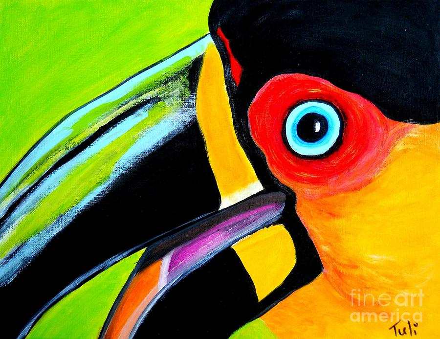 Toucan Painting - The Smiling Toucan by Claudia Tuli