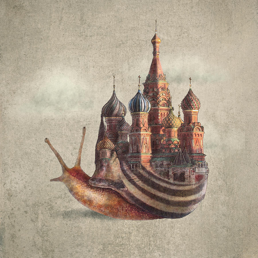 Snail Drawing - The Snails Daydream by Eric Fan