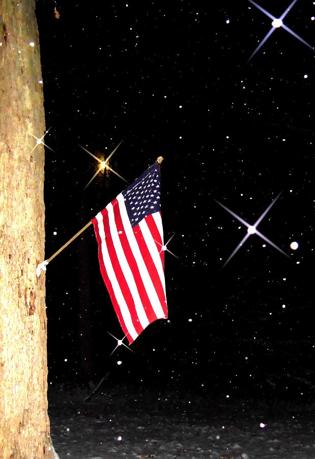 American Flag Image Photograph - The Snow The Moon And The Flag by Sharon Costa