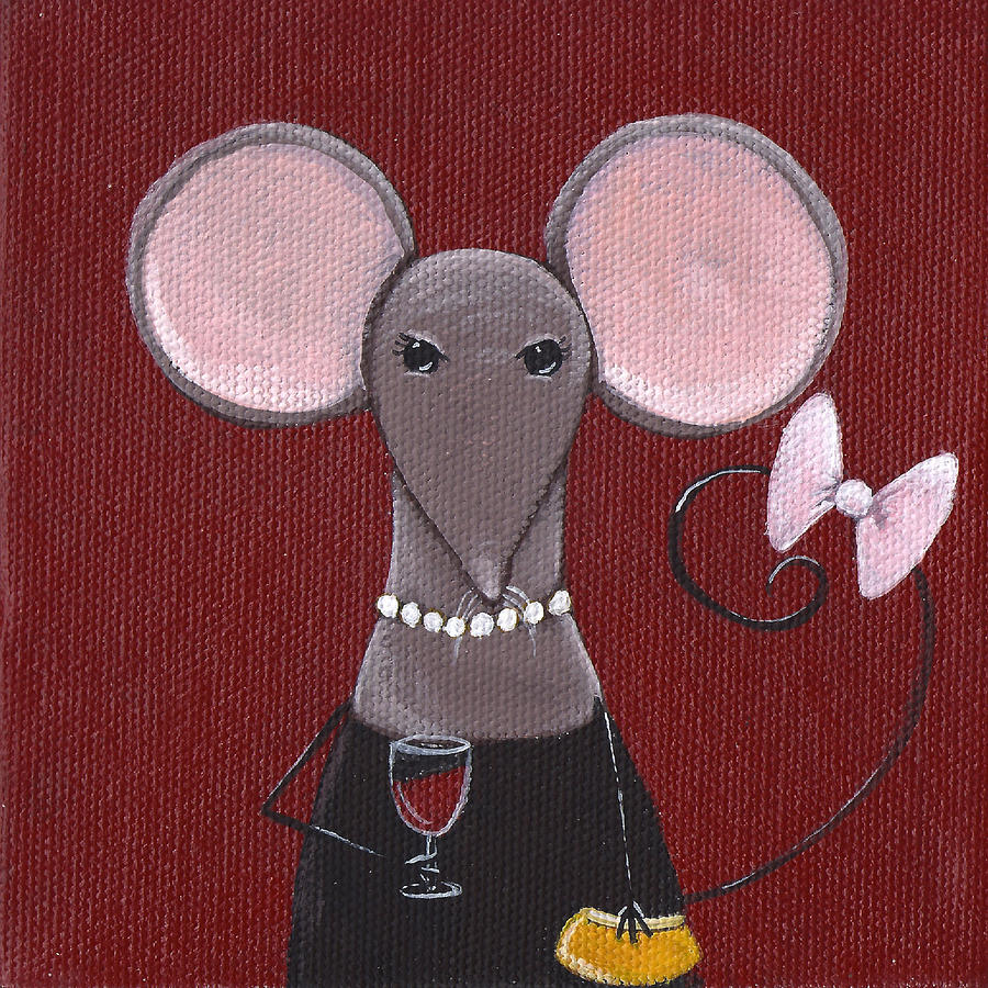 Mouse Painting - The Socialite  by Christy Beckwith