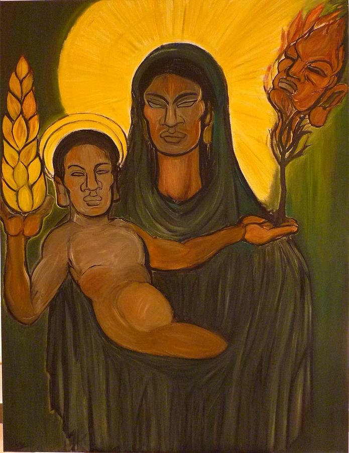 Virgin Painting - The Solar Virgin With The Creator And Liberator Child by Cindy MILLET