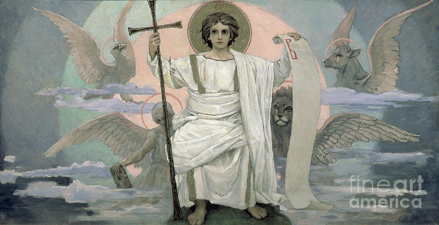 Seated Painting - The Son Of God   The Word Of God by Victor Mikhailovich Vasnetsov